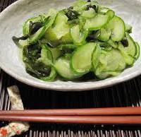 SEA VEGETABLES:  Wakame-Cucumber Pressed Salad